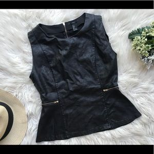 Faux leather peplum top!